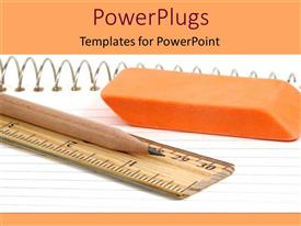 PowerPlugs: PowerPoint template with a pencil, ruler and eraser on an open book