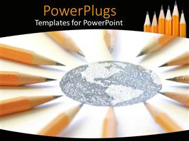 PowerPlugs: PowerPoint template with pencil sketch of earth globe on white surface with pencils arranged