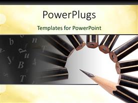 PowerPlugs: PowerPoint template with pencils arranged in spiral form over white background