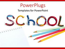 Writing powerpoint templates crystalgraphics powerplugs powerpoint template with pencils and crayons on notepad with colorful text school toneelgroepblik Images