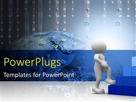 PowerPlugs: PowerPoint template with 3D man climbs cube stairs with binary numbers in background
