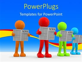 PowerPlugs: PowerPoint template with four multi colored 3D human characters reading papers