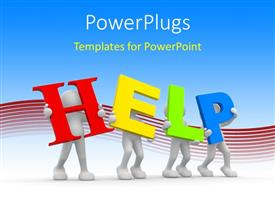 PowerPlugs: PowerPoint template with 3D men hold colorful letters forming word HELP
