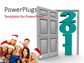 PowerPoint template displaying people celebrate Christmas with Santa cap and open door to 2011