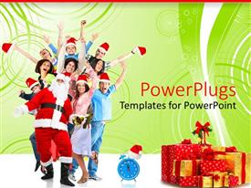PowerPoint template displaying people with christmas cap celebrating santa with father christmas