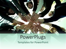 PowerPoint template displaying people in circle put hands together depicting teamwork and unity