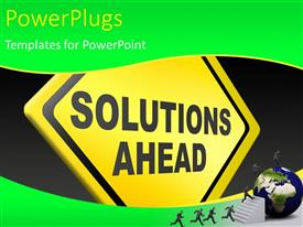 PowerPlugs: PowerPoint template with people climbing stairs to earth globe with yellow sign post SOLUTIONS AHEAD