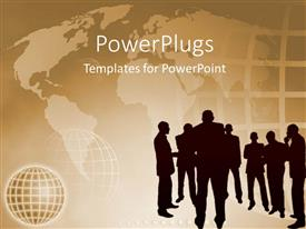 PowerPlugs: PowerPoint template with people clustered together having discussion with world map in background