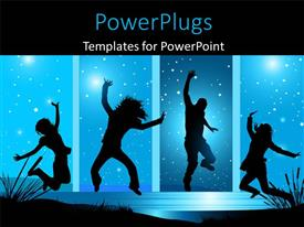 PowerPlugs: PowerPoint template with people dancing with happiness , with blue sky and stars