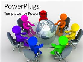 PowerPlugs: PowerPoint template with people of different nationalities sitting round glass table with the earth globe