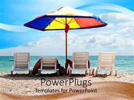 PowerPoint template displaying people enjoying on the beach with clouds in the background