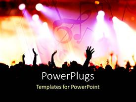 PowerPlugs: PowerPoint template with people enjoying the concert with music signs in the background