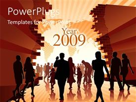 PowerPoint template displaying people entering Year 2009, with global map