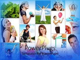 PowerPlugs: PowerPoint template with people exercising and eating healthy foods