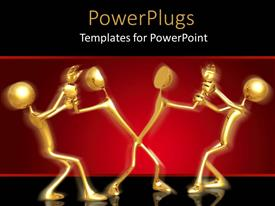 PowerPlugs: PowerPoint template with people fighting with each other with red background