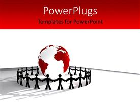 PowerPlugs: PowerPoint template with people holding hands around the world globe global collaboration on red background