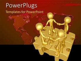 PowerPlugs: PowerPoint template with people holding hands while standing on connected puzzle pieces with world map in the background