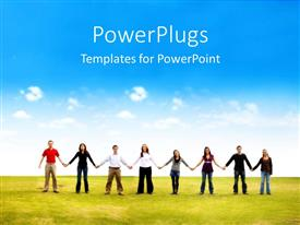 PowerPlugs: PowerPoint template with people holding hands working together teamwork in field blue skies