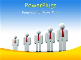 PowerPoint template displaying people icons growing in size depicting growth with blue color