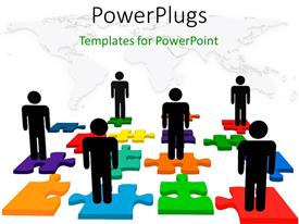 PowerPoint template displaying people on jigsaw puzzle depicting human resources issues with world map in background