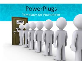 PowerPlugs: PowerPoint template with people in a line waiting for job interview