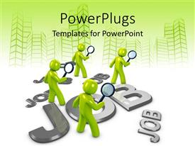 PowerPlugs: PowerPoint template with people looking for job options with vector drawing of buildings