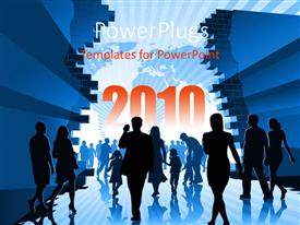 PowerPlugs: PowerPoint template with people moving to year 2010, and map