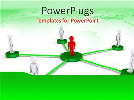 PowerPoint template displaying people on platforms connected to a red person at the center with world map