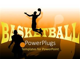 PowerPlugs: PowerPoint template with people playing basketball with their shadows in background
