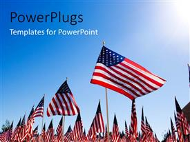 PowerPoint template displaying people in a rally with a number of American flags