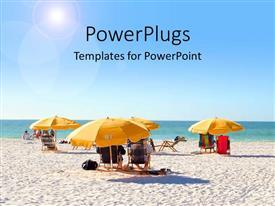 PowerPlugs: PowerPoint template with people relaxing under beach umbrellas by ocean