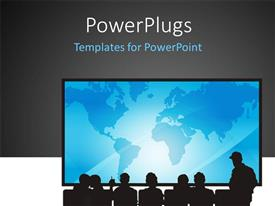 PowerPlugs: PowerPoint template with people sitting in front of a screen for presentation with grey color