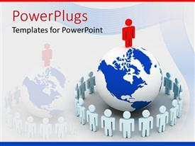 PowerPoint template displaying people stand at attention round earth globe with red man standing on globe