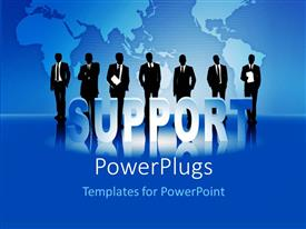 PowerPlugs: PowerPoint template with people standing on blue surface over World map in background