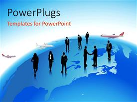 PowerPlugs: PowerPoint template with people standing over earth globe with airlines depicting global travel