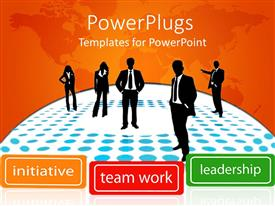 PowerPlugs: PowerPoint template with people standing on polka dots of blue and white with leadership  terms