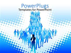 PowerPlugs: PowerPoint template with people standing together forms arrow shape on white with dots of blue
