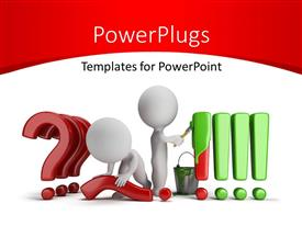 PowerPoint template displaying people straighten questions to exclamations and painting green with white color
