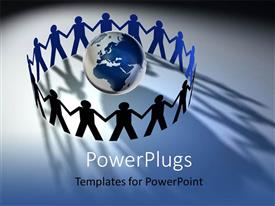 PowerPoint template displaying people symbols protecting 3D earth with blue color
