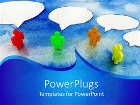 PowerPoint template displaying people talk with one another through the clouds