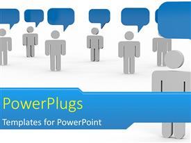 PowerPlugs: PowerPoint template with some white colored 3D characters blue bubbles