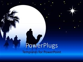 PowerPlugs: PowerPoint template with people traveling on camels at night