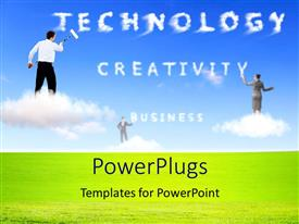 PowerPoint template displaying people trying to create the words related to technology