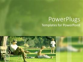 PowerPoint template displaying people of various ages enjoying in a lush green park