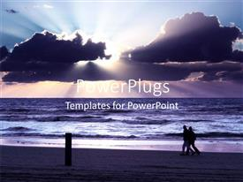PowerPoint template displaying people walking on beach with sunset in cloudy sky