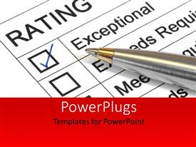 PowerPlugs: PowerPoint template with performance appraisal customer service rating with exceptional rating marked with ballpoint pen