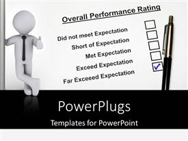 PowerPlugs: PowerPoint template with performance rating concept using business person and pet with white color