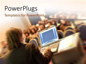 PowerPlugs: PowerPoint template with a person addrssing a number of others