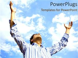 PowerPlugs: PowerPoint template with a person with alot of clouds in the background