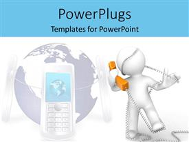 PowerPlugs: PowerPoint template with a person answering a telephone connected with a cellphone